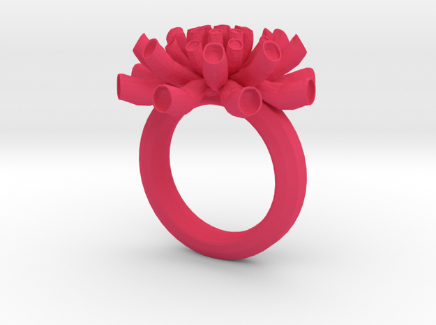 Sea Anemone ring 17mm in Pink Processed Versatile Plastic