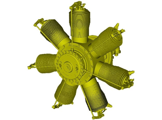 1/15 scale Gnome 7 Omega rotary engine x 1 in Smooth Fine Detail Plastic