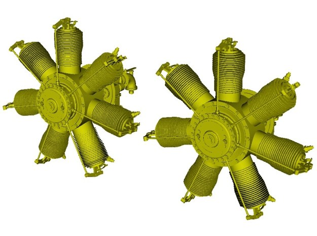 1/16 scale Gnome 7 Omega rotary engines x 2 in Smooth Fine Detail Plastic