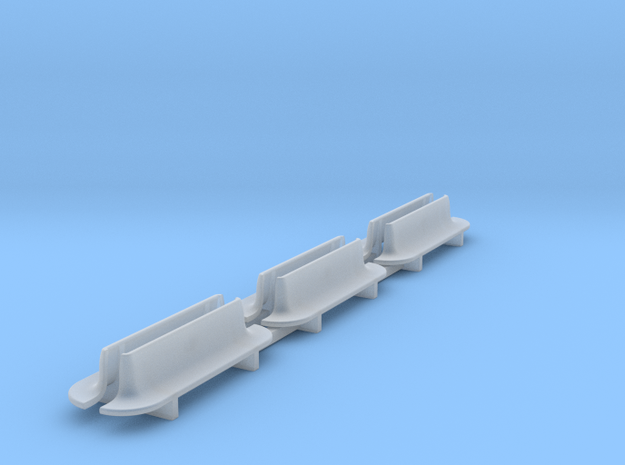 N Scale Bench X6 - Rounded Ends in Smooth Fine Detail Plastic