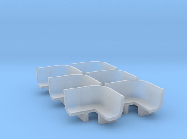 N Scale Bench X6 - Inside Radius in Smooth Fine Detail Plastic