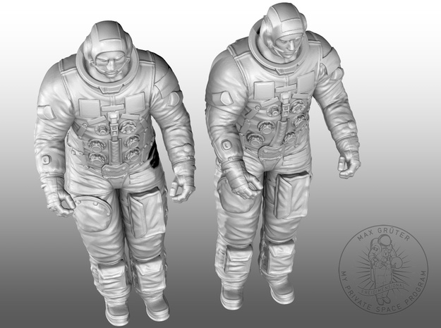 APOLLO LEM Astronauts in White Natural Versatile Plastic: 1:32