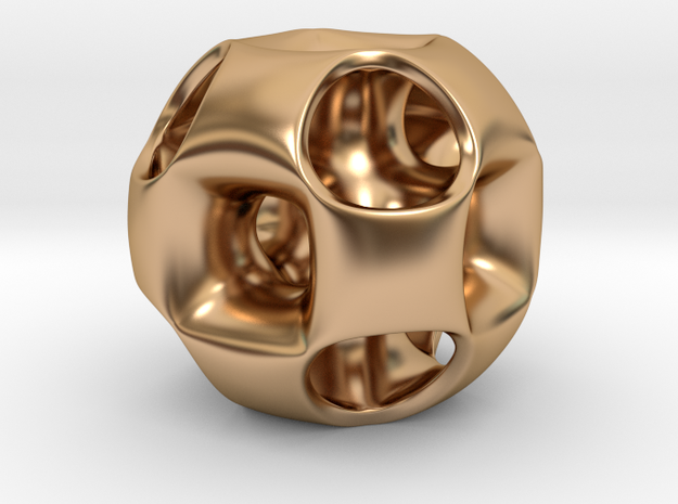 Ported Cube Pendant_02 in Polished Bronze