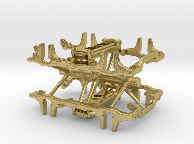 S Scale PRR 2D-F32 CAST Frames 2 PK in Natural Brass