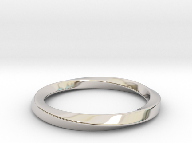 Mobius Ring - 270 in Rhodium Plated Brass: 9 / 59
