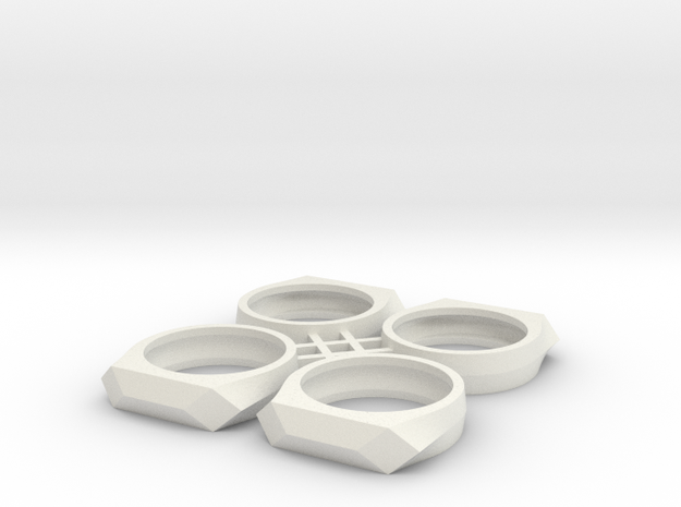 Gamora's Faceted Ring, 4x flat stack in White Natural Versatile Plastic: 6 / 51.5