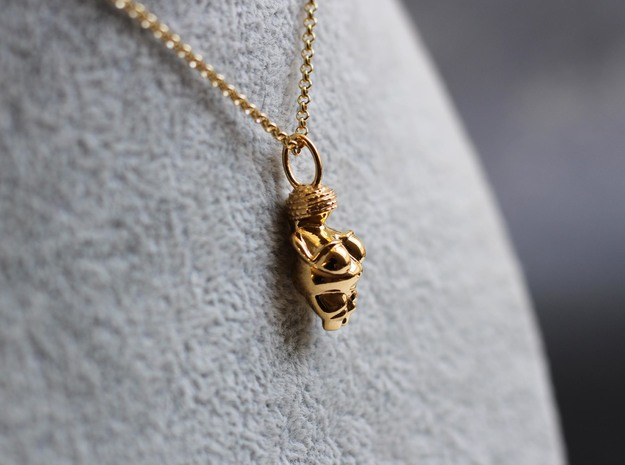 Venus of Willendorf Pendant - Archaeology Jewelry in 14k Gold Plated Brass