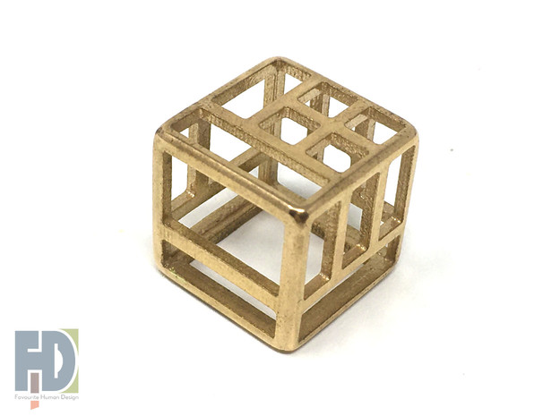 D6 Hollow Block Balanced Dice | Count the Holes in Polished Brass