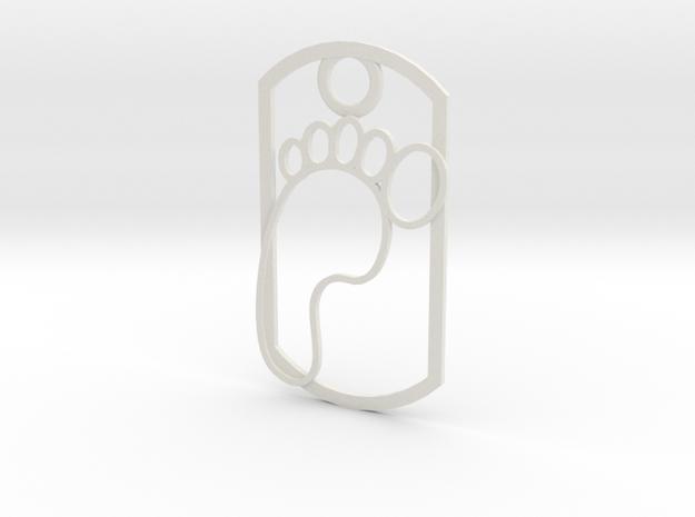 Footprint dog tag in White Natural Versatile Plastic