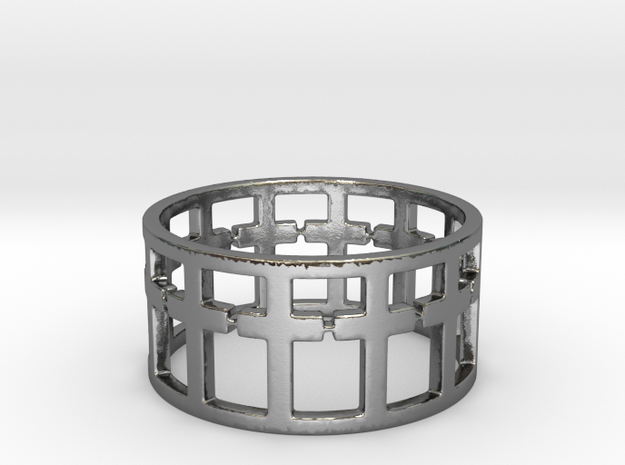 28 Cross ring V9 Ring Size 7 in Polished Silver
