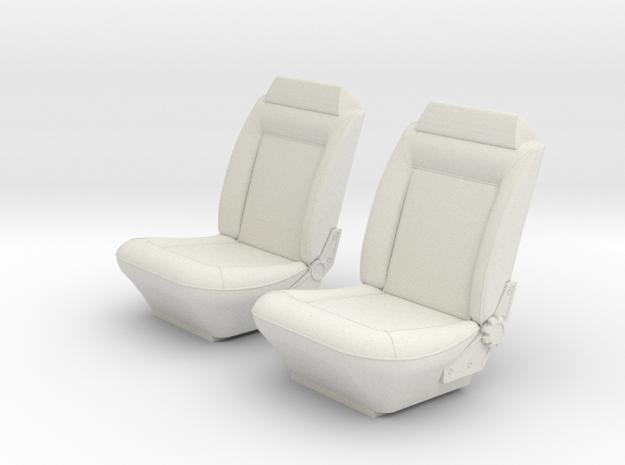 1/25 Holden HQ Monaro Bucket Seats in White Natural Versatile Plastic