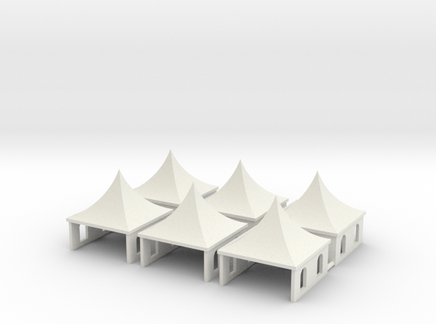 Pagodenzelte - 1:220 (Z scale) in White Natural Versatile Plastic
