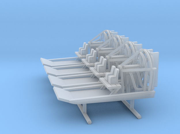 Airboat / Swamp Boat - x4 - Z Scale  in Smooth Fine Detail Plastic