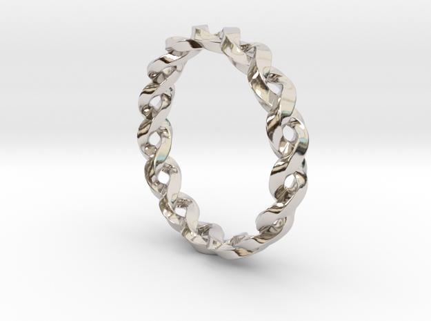 Braid Ring in Rhodium Plated Brass: 8 / 56.75