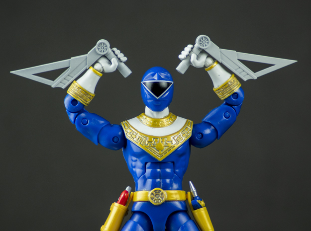 Zeo Collection : Blue Tonfa/Axe - Legacy Figure in White Natural Versatile Plastic