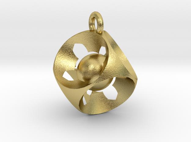 Captive Ball Cube Pendant in Natural Brass (Interlocking Parts)