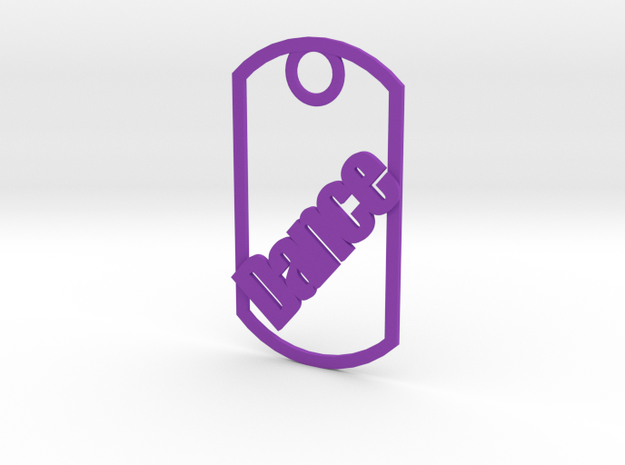 Dance dog tag in Purple Processed Versatile Plastic
