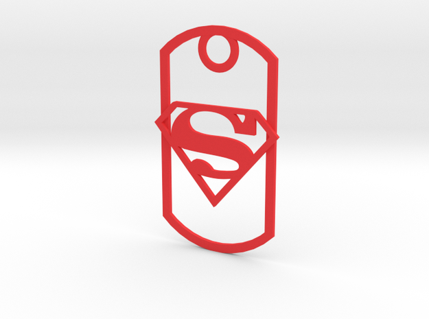 Superman dog tag in Red Processed Versatile Plastic