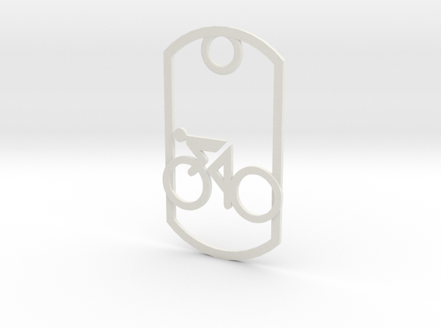 Cyclist - racing - dog tag in White Natural Versatile Plastic