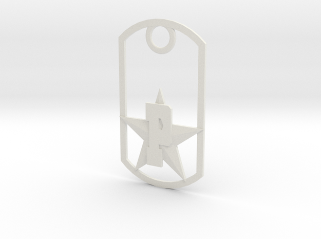 PHS dog tag - Plains Star in White Natural Versatile Plastic