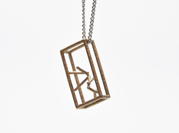 Naked Parallelepiped Pendant in Polished Bronzed-Silver Steel