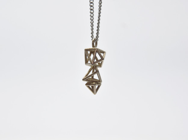 Tangels Pendant  in Polished Bronzed-Silver Steel
