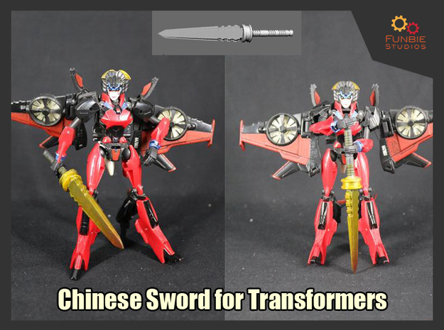 Chinese Sword for Transformers in White Natural Versatile Plastic