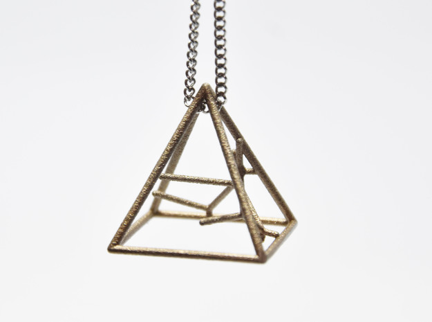 Naked Pyramid Pendant in Polished Bronzed-Silver Steel