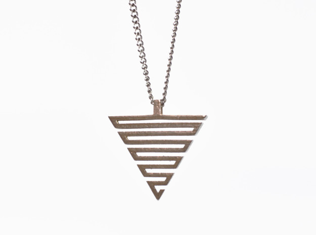 Labyrinth pendant in Polished Bronzed-Silver Steel