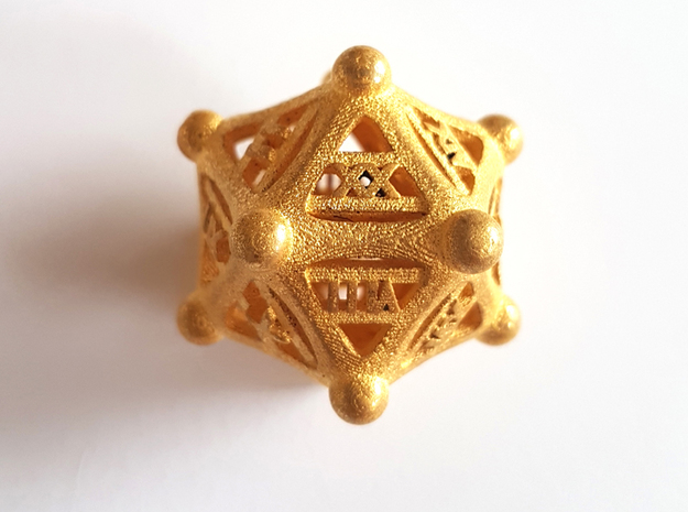 Roman numerals D20 in Polished Gold Steel