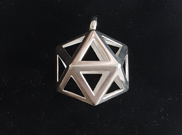 Icosahedron pendant in Polished Silver