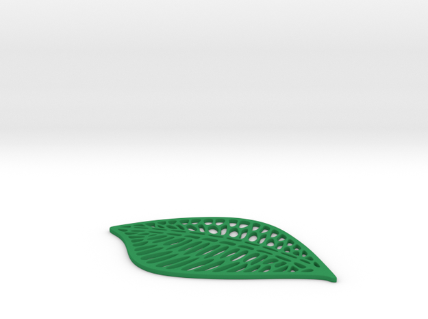 Leaf Drink Coaster in Green Strong & Flexible Polished
