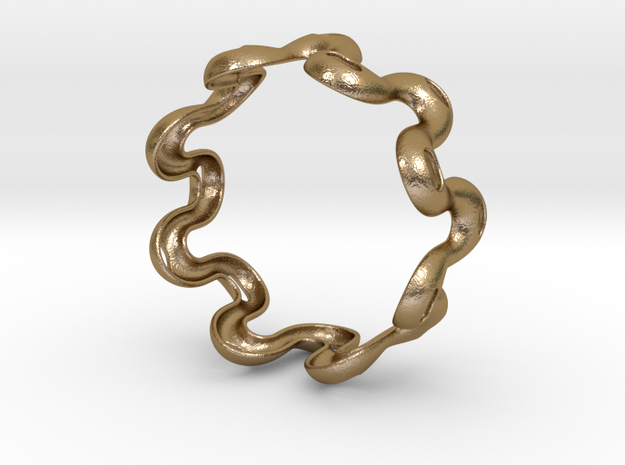 Wavy bracelet 2 - 80 in Polished Gold Steel