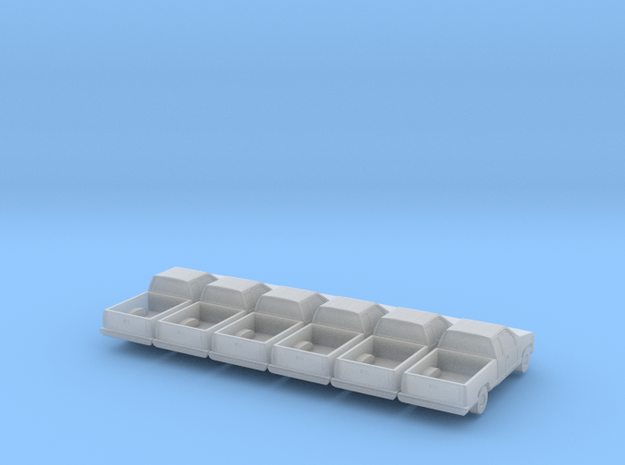 Club Cab Pickup - set of 6 - 1:200 in Smooth Fine Detail Plastic