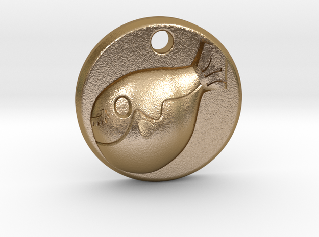 Cute Puffer fish,fugu,charm necklace in Polished Gold Steel