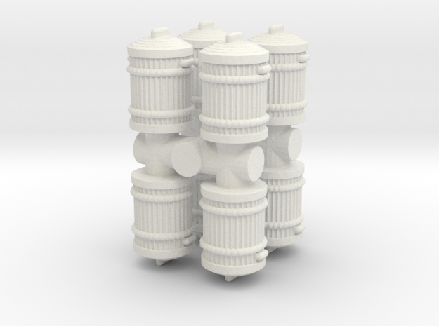 Garbage Can (x8) 1/72 in White Natural Versatile Plastic