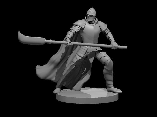 Human Helmed Fighter with Glaive in Smooth Fine Detail Plastic