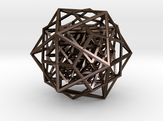 64 tetrahedron in icosahedron & dodecahedron in Polished Bronze Steel