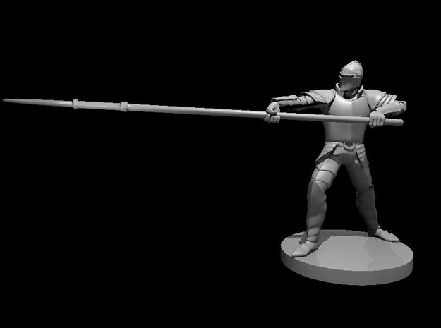 Human Armored Fighter with Lance in Smooth Fine Detail Plastic