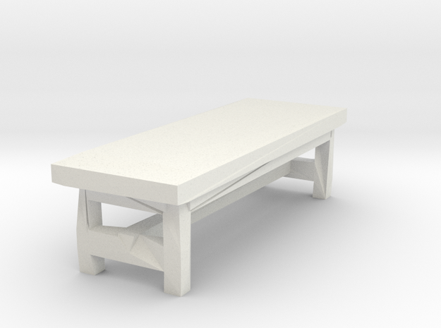 Miniature 1:48 Rustic Bench in White Natural Versatile Plastic