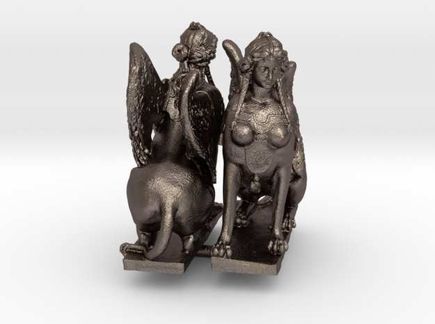 """Greek Sphinx of Thebes and Oedipus Mirrored 0.625"""" in Polished Bronzed-Silver Steel"""