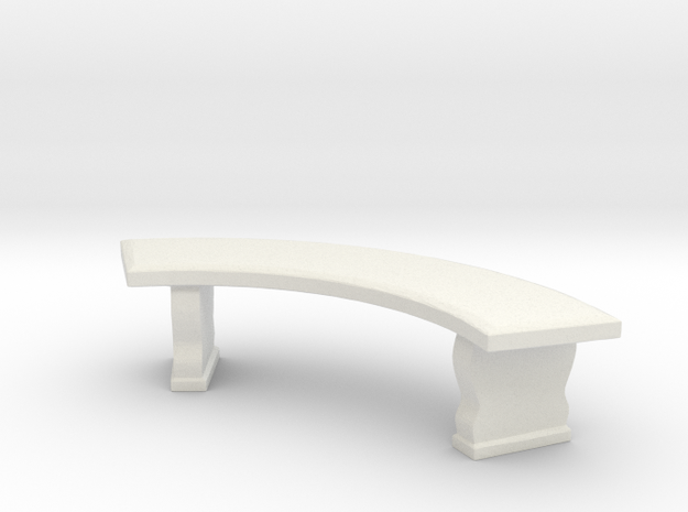 Curved Garden Bench 1/24 in White Natural Versatile Plastic