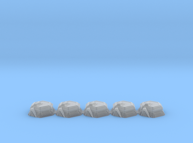 5x War gaming Bunkers (3mm Scale) in Smooth Fine Detail Plastic