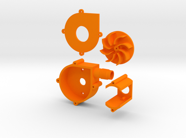 centrifuge blower/fan with output hose connector in Orange Processed Versatile Plastic