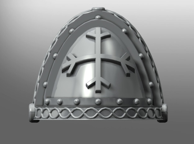 Bellator pattern shoulder pads: Runic Crosses in Smooth Fine Detail Plastic: Small