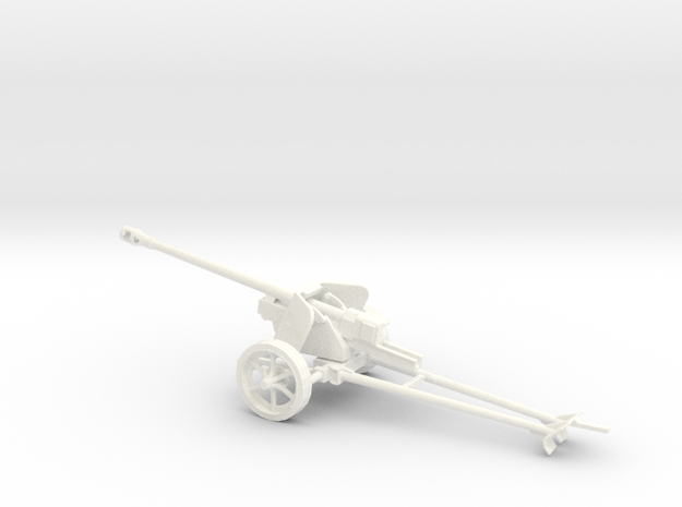 1/43 scale Pak40 german anti tank gun in White Processed Versatile Plastic