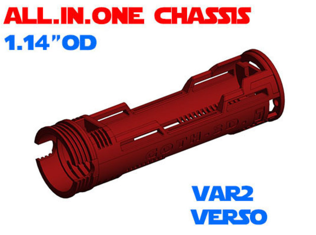 """ALL.IN.ONE - 1.14""""OD - Verso chassis Var2 in White Natural Versatile Plastic"""