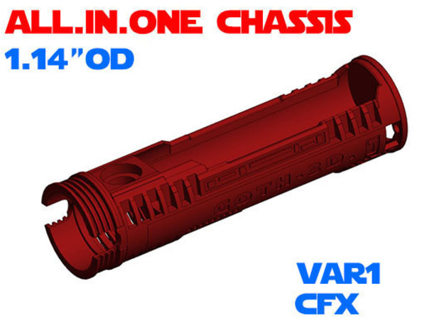 """ALL.IN.ONE - 1.14""""OD - CFX chassis Var1 in White Natural Versatile Plastic"""