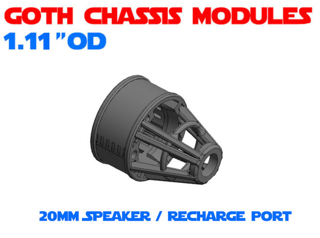 GCM111-03-04 - Combo 20mm Speaker + Recharge port in White Natural Versatile Plastic