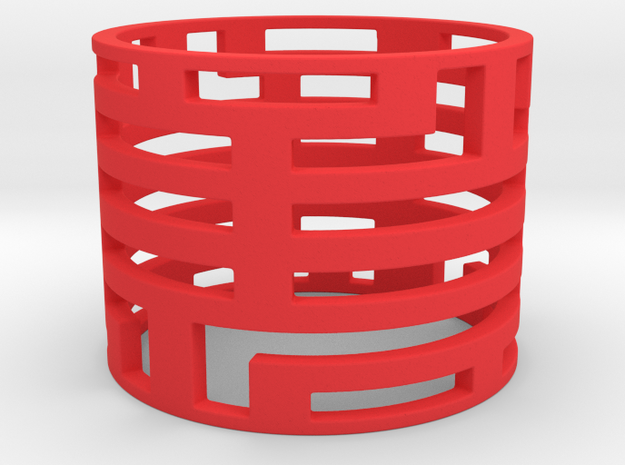 Bars ring in Red Processed Versatile Plastic: Large